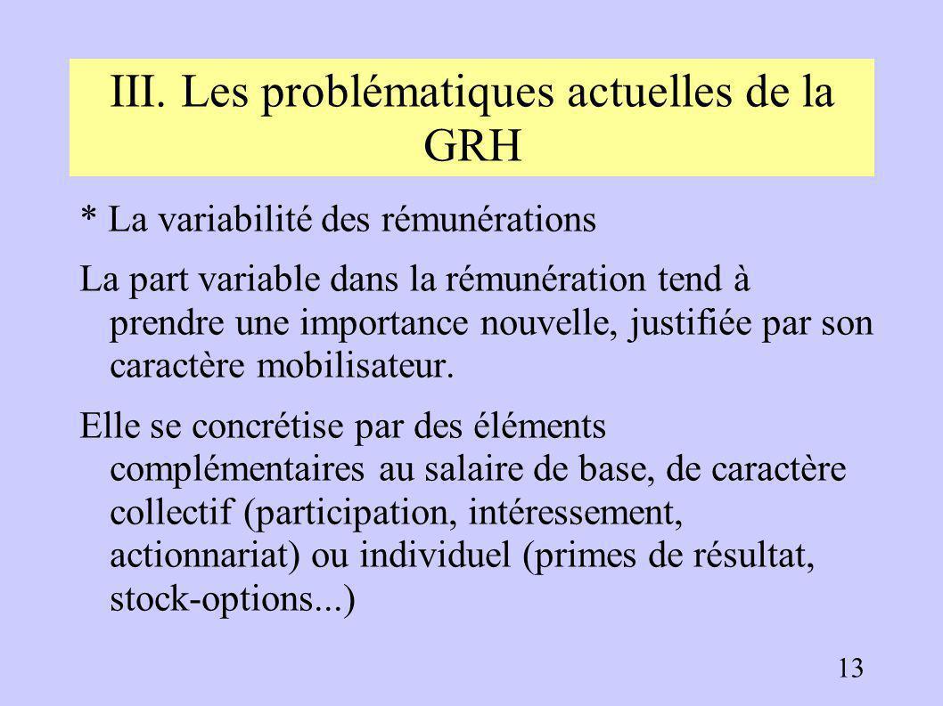 III. Les problématiques actuelles de la GRH * l'individualisation des rémunérations Les grilles de qualification, de moins en moins adaptées à l'évolu