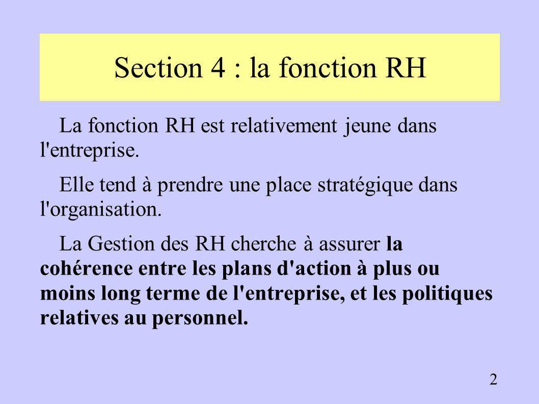 Troisième partie : organisation et gestion de l'entreprise Section 4 : la fonction Ressources Humaines I. L'évolution de la fonction RH II. Rôle et co