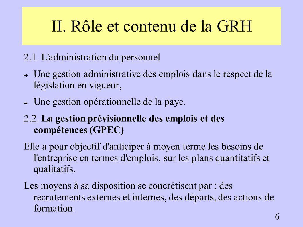 I. L'évolution de la fonction RH 1.3. La place de la fonction RH dans l'organisation ➔ La GRH assure un service fonctionnel tendant à prendre une plac