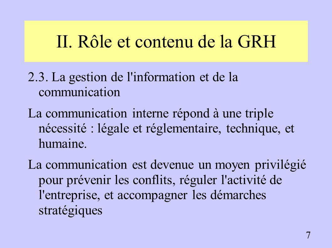 II. Rôle et contenu de la GRH 2.1. L'administration du personnel ➔ Une gestion administrative des emplois dans le respect de la législation en vigueur