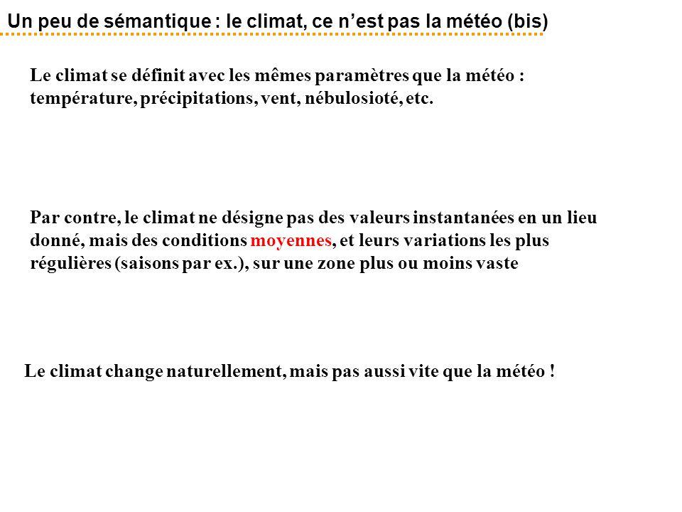 Le climat se définit avec les mêmes paramètres que la météo : température, précipitations, vent, nébulosioté, etc. Un peu de sémantique : le climat, c