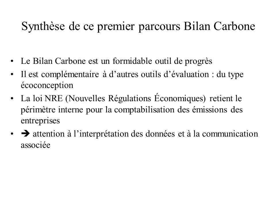 Synthèse de ce premier parcours Bilan Carbone Le Bilan Carbone est un formidable outil de progrès Il est complémentaire à d'autres outils d'évaluation