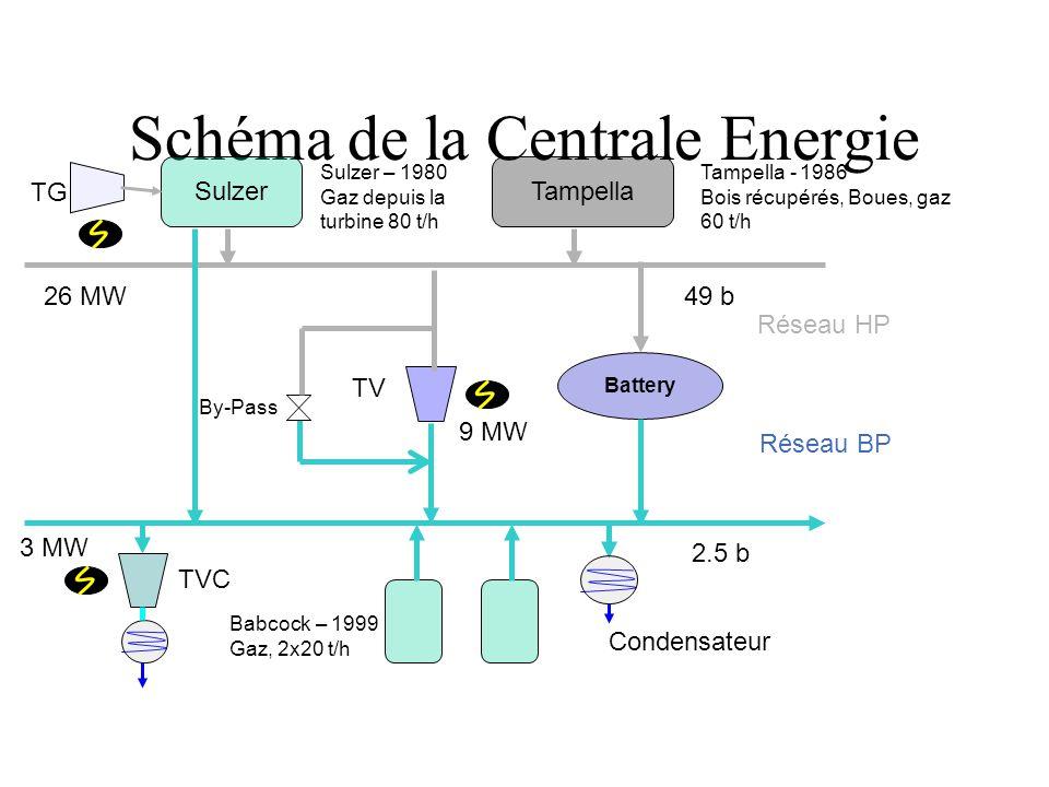 Schéma de la Centrale Energie SulzerTampella TG TV Babcock – 1999 Gaz, 2x20 t/h TVC Réseau HP Réseau BP 49 b 2.5 b Condensateur 26 MW 9 MW 3 MW Batter
