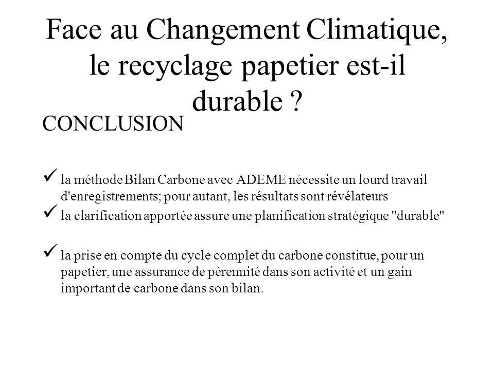 Face au Changement Climatique, le recyclage papetier est-il durable ? CONCLUSION la méthode Bilan Carbone avec ADEME nécessite un lourd travail d'enre