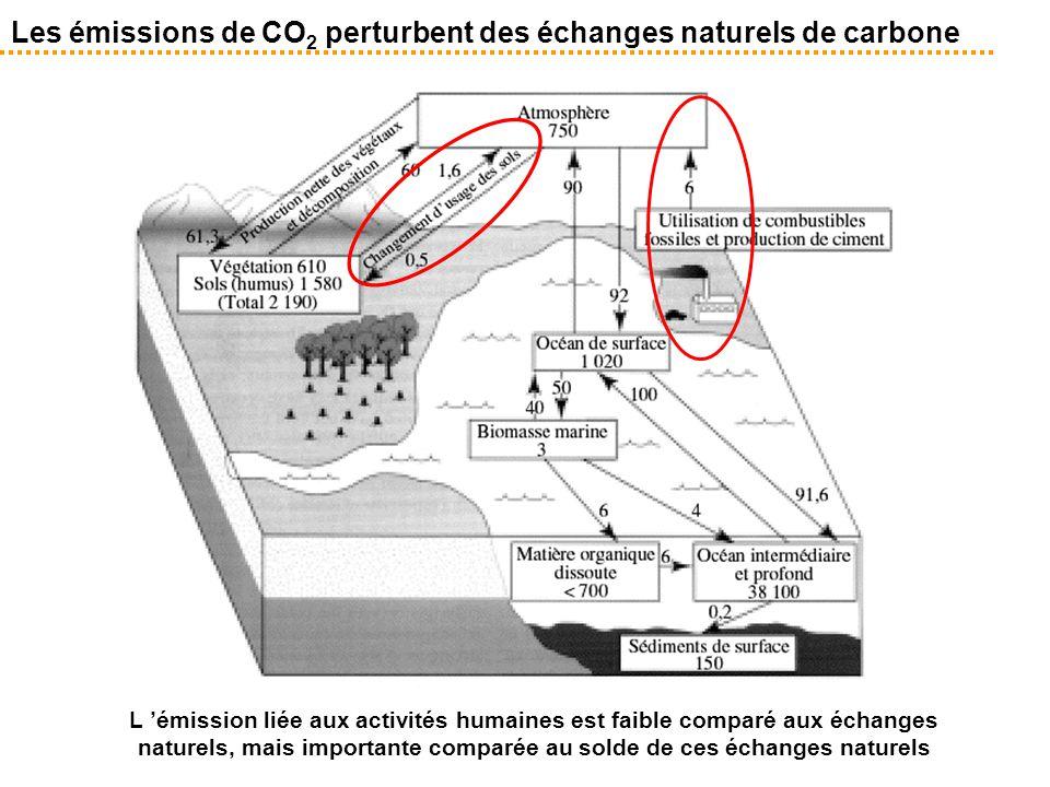 Les émissions de CO 2 perturbent des échanges naturels de carbone L 'émission liée aux activités humaines est faible comparé aux échanges naturels, ma
