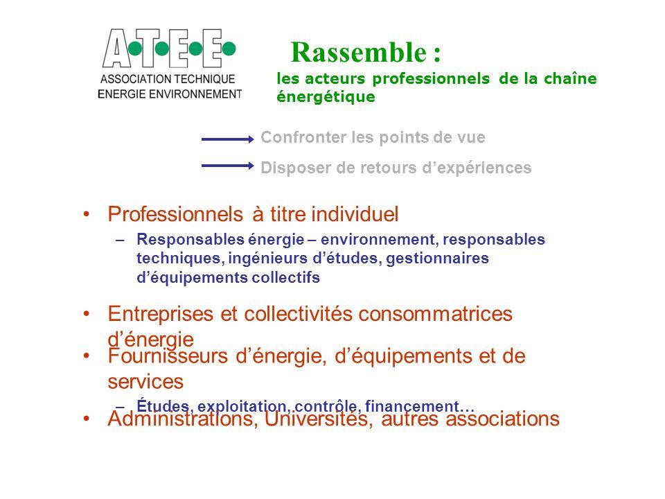 Rassemble : Professionnels à titre individuel –Responsables énergie – environnement, responsables techniques, ingénieurs d'études, gestionnaires d'équ