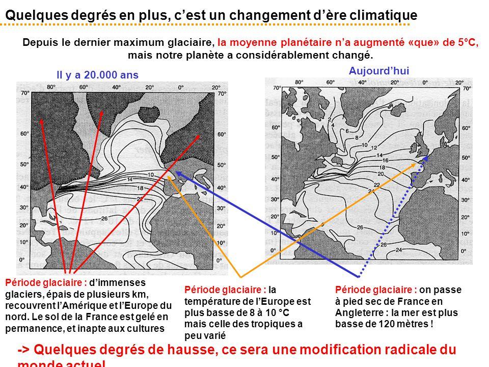 Quelques degrés en plus, c'est un changement d'ère climatique -> Quelques degrés de hausse, ce sera une modification radicale du monde actuel Il y a 2