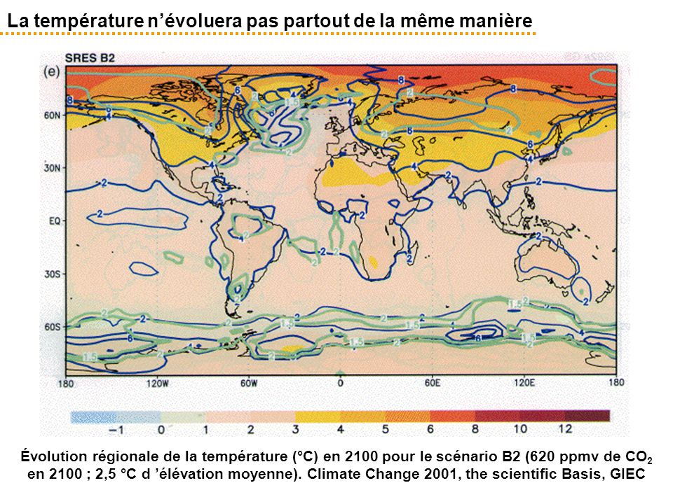La température n'évoluera pas partout de la même manière Évolution régionale de la température (°C) en 2100 pour le scénario B2 (620 ppmv de CO 2 en 2