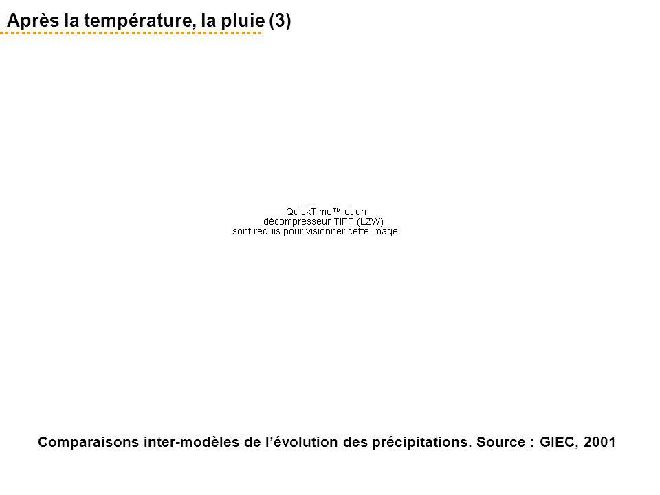 Comparaisons inter-modèles de l'évolution des précipitations. Source : GIEC, 2001 Après la température, la pluie (3)