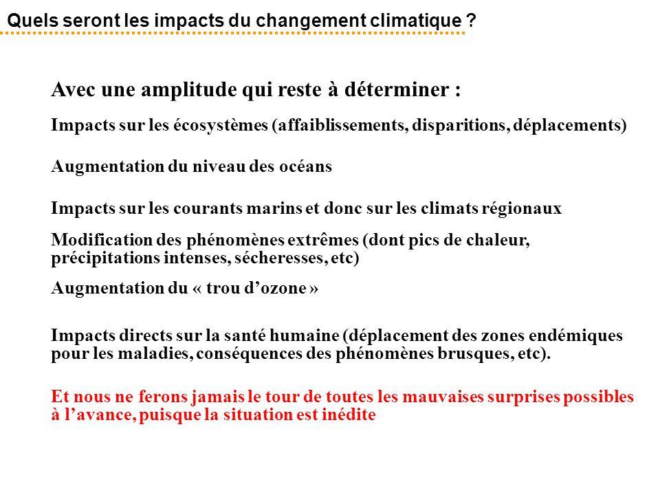 Avec une amplitude qui reste à déterminer : Impacts sur les écosystèmes (affaiblissements, disparitions, déplacements) Augmentation du niveau des océa