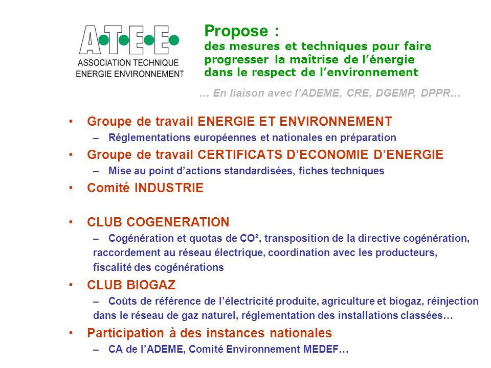 Groupe de travail ENERGIE ET ENVIRONNEMENT –Réglementations européennes et nationales en préparation Groupe de travail CERTIFICATS D'ECONOMIE D'ENERGI