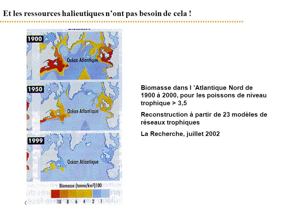 09/09/2014 Et les ressources halieutiques n'ont pas besoin de cela ! Biomasse dans l 'Atlantique Nord de 1900 à 2000, pour les poissons de niveau trop