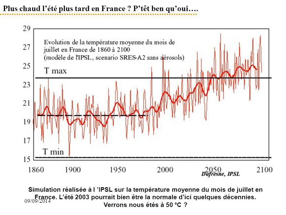 09/09/2014 Plus chaud l'été plus tard en France ? P'têt ben qu'oui…. Simulation réalisée à l 'IPSL sur la température moyenne du mois de juillet en Fr
