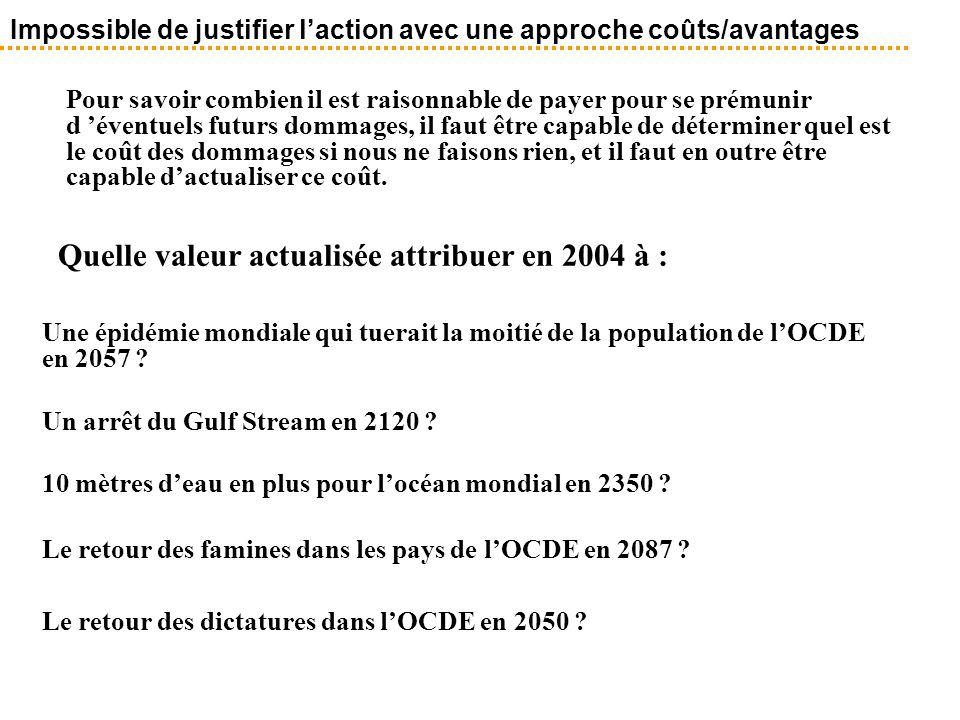 Quelle valeur actualisée attribuer en 2004 à : Une épidémie mondiale qui tuerait la moitié de la population de l'OCDE en 2057 ? Un arrêt du Gulf Strea