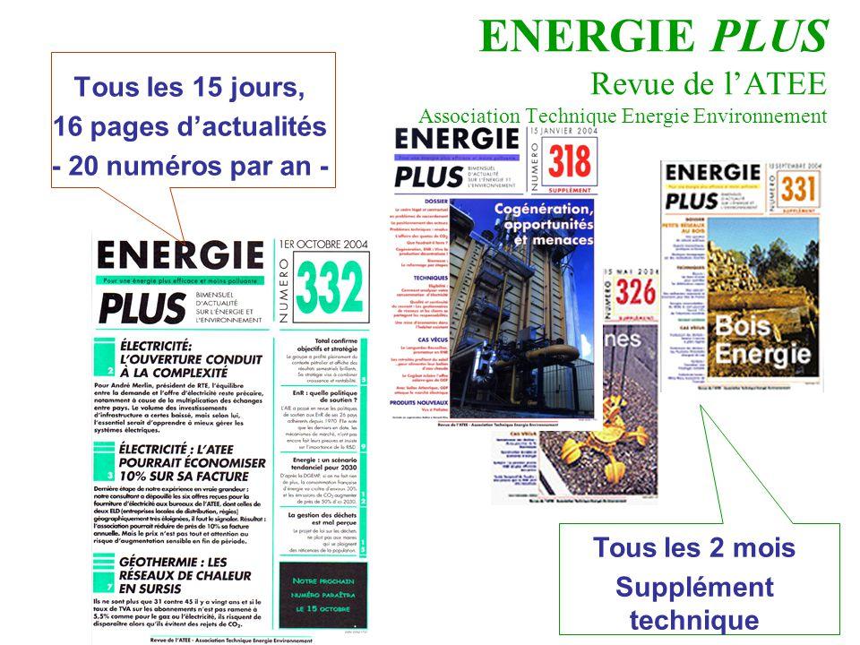 ENERGIE PLUS Revue de l'ATEE Association Technique Energie Environnement Tous les 15 jours, 16 pages d'actualités - 20 numéros par an - Tous les 2 moi
