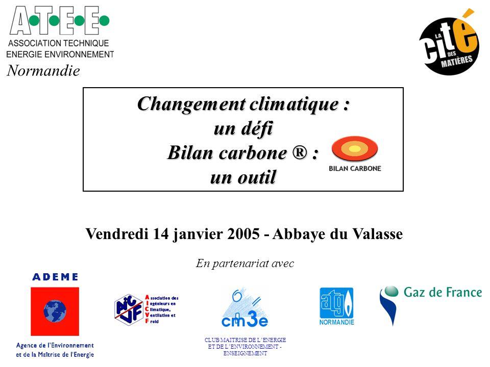 Changement climatique : un défi Bilan carbone ® : un outil Normandie En partenariat avec CLUB MAITRISE DE L'ENERGIE ET DE L'ENVIRONNEMENT - ENSEIGNEME