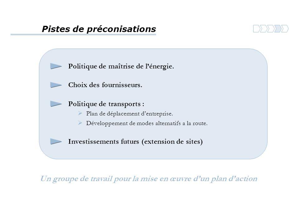 Pistes de préconisations Politique de maîtrise de l'énergie.  Plan de déplacement d'entreprise. Choix des fournisseurs. Politique de transports :  D