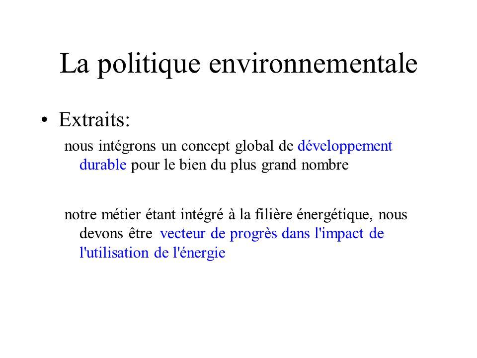 La politique environnementale Extraits: nous intégrons un concept global de développement durable pour le bien du plus grand nombre notre métier étant