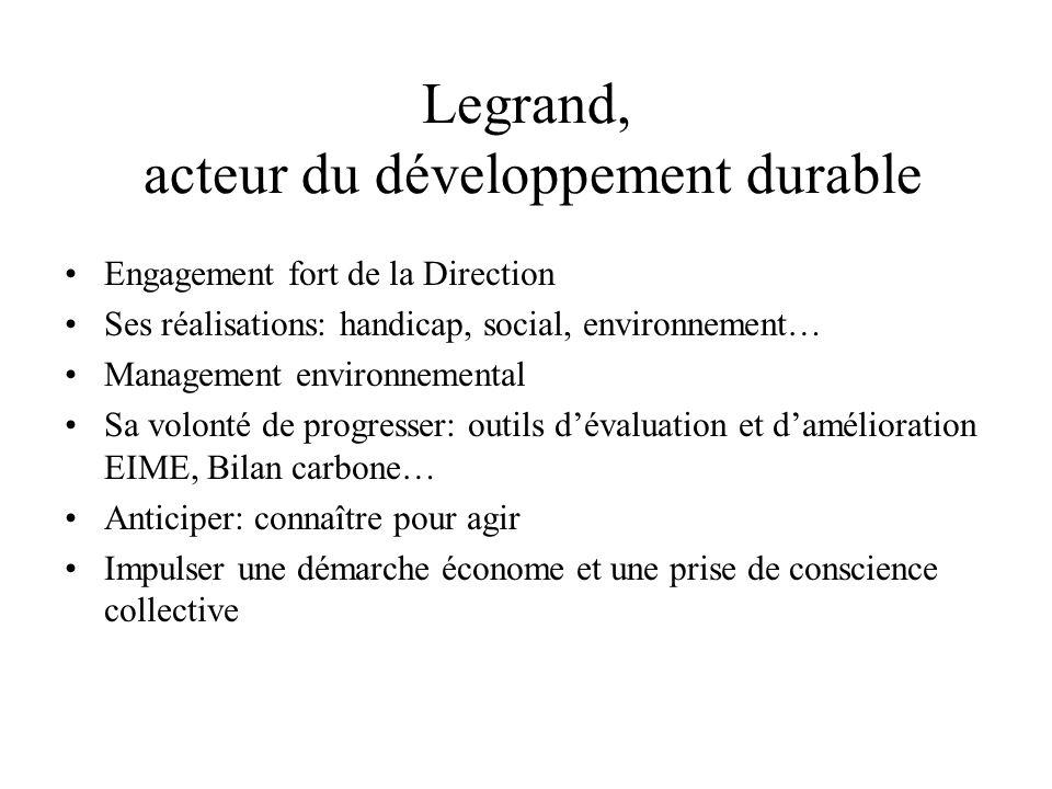 Legrand, acteur du développement durable Engagement fort de la Direction Ses réalisations: handicap, social, environnement… Management environnemental