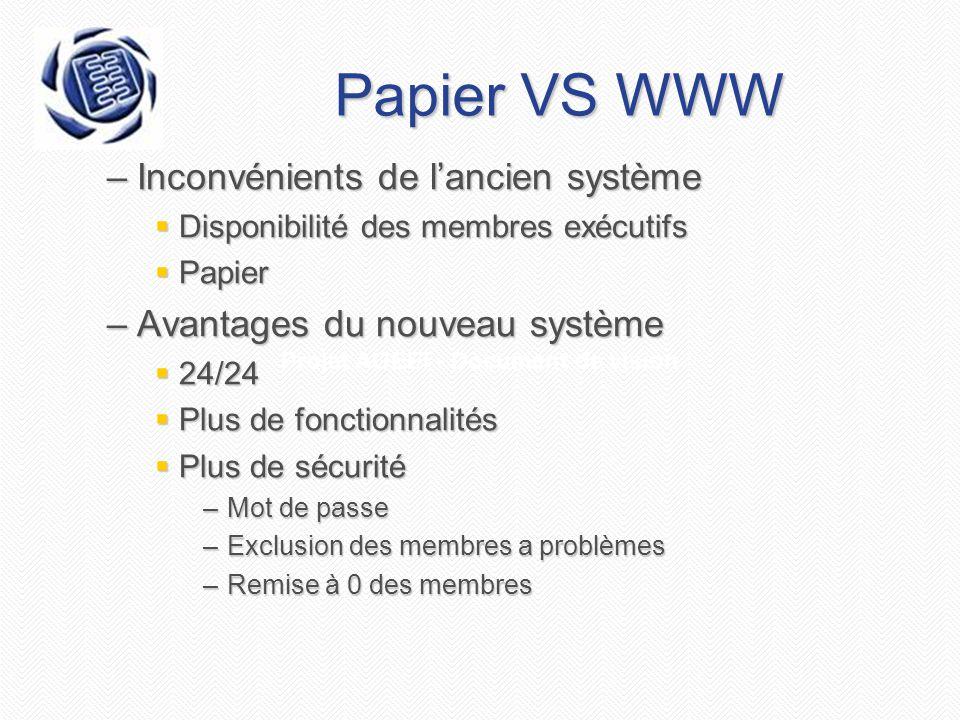 Projet AGEEI - Document de vision Papier VS WWW –Inconvénients de l'ancien système  Disponibilité des membres exécutifs  Papier –Avantages du nouveau système  24/24  Plus de fonctionnalités  Plus de sécurité –Mot de passe –Exclusion des membres a problèmes –Remise à 0 des membres