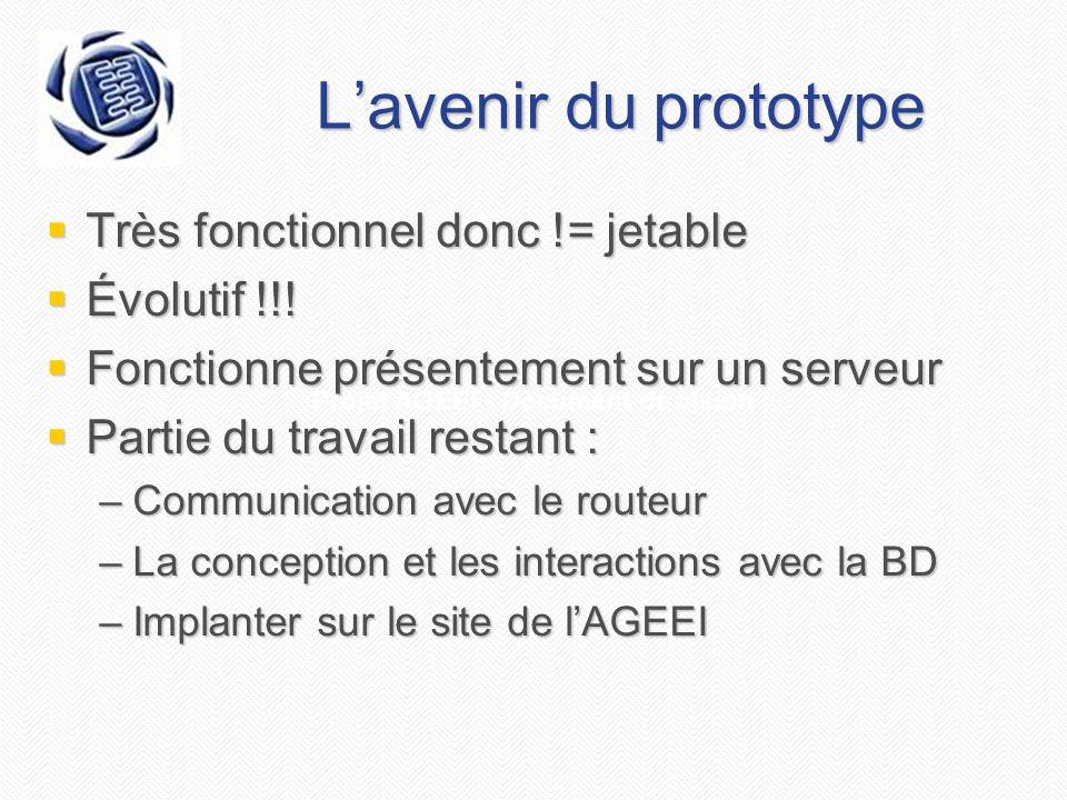 Projet AGEEI - Document de vision L'avenir du prototype  Très fonctionnel donc != jetable  Évolutif !!!  Fonctionne présentement sur un serveur  P