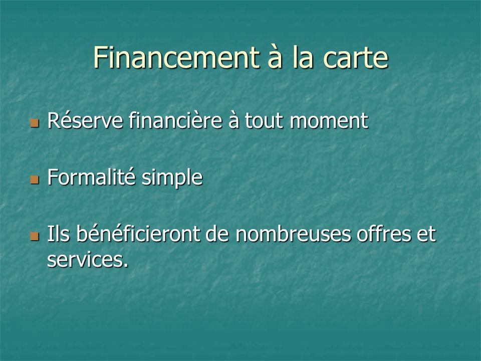 Financement à la carte Réserve financière à tout moment Réserve financière à tout moment Formalité simple Formalité simple Ils bénéficieront de nombreuses offres et services.
