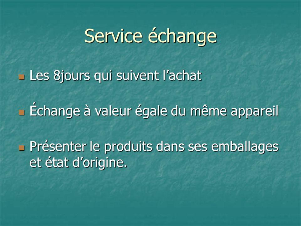 Service échange Les 8jours qui suivent l'achat Les 8jours qui suivent l'achat Échange à valeur égale du même appareil Échange à valeur égale du même appareil Présenter le produits dans ses emballages et état d'origine.