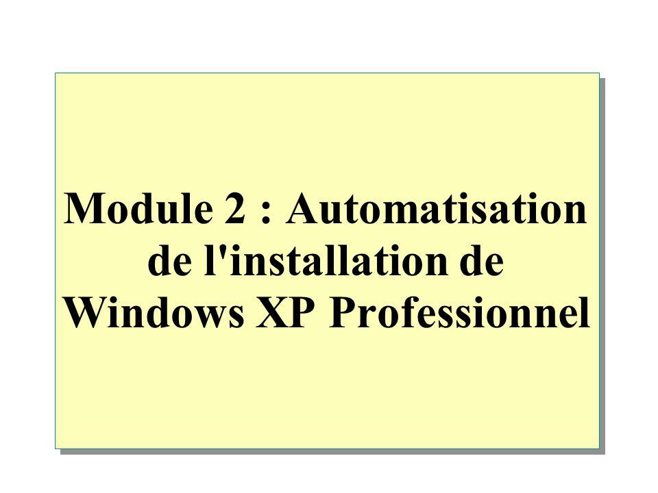 Module 2 : Automatisation de l'installation de Windows XP Professionnel