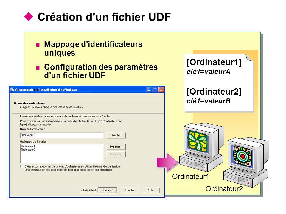  Création d un fichier UDF Mappage d identificateurs uniques Configuration des paramètres d un fichier UDF Ordinateur1 [Ordinateur1] clé1=valeurA [Ordinateur2] clé1=valeurB [Ordinateur1] clé1=valeurA [Ordinateur2] clé1=valeurB Ordinateur2