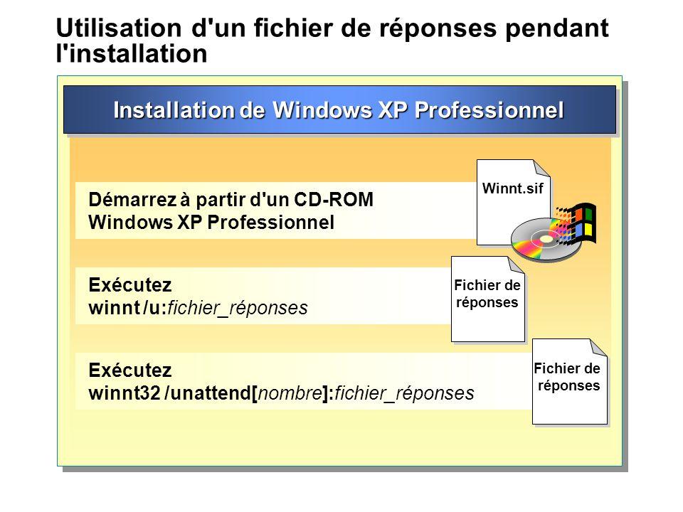 Utilisation d un fichier de réponses pendant l installation Installation de Windows XP Professionnel Démarrez à partir d un CD-ROM Windows XP Professionnel Exécutez winnt /u:fichier_réponses Exécutez winnt32 /unattend[nombre]:fichier_réponses Winnt.sif Fichier de réponses