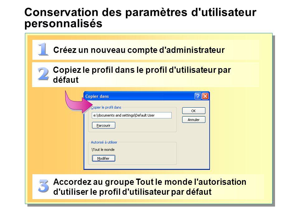 Conservation des paramètres d utilisateur personnalisés Créez un nouveau compte d administrateur Copiez le profil dans le profil d utilisateur par défaut Accordez au groupe Tout le monde l autorisation d utiliser le profil d utilisateur par défaut