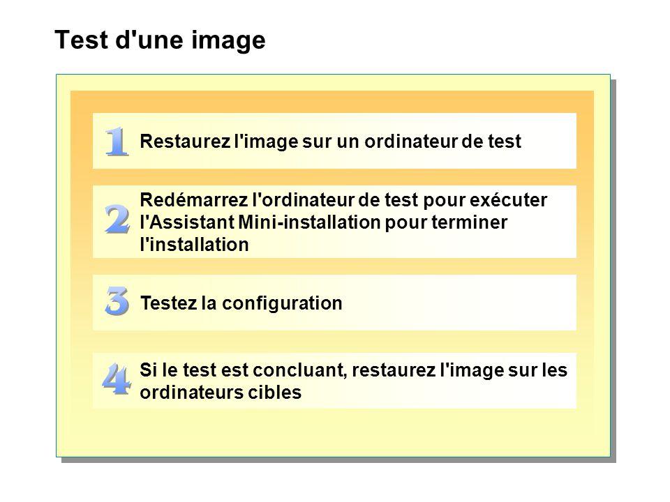 Test d une image Restaurez l image sur un ordinateur de test Redémarrez l ordinateur de test pour exécuter l Assistant Mini-installation pour terminer l installation Testez la configuration Si le test est concluant, restaurez l image sur les ordinateurs cibles