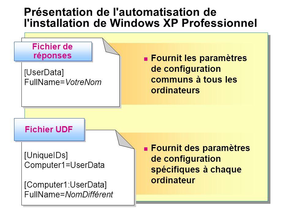 Fournit des paramètres de configuration spécifiques à chaque ordinateur Fournit les paramètres de configuration communs à tous les ordinateurs [ UserData] FullName=VotreNom [ UserData] FullName=VotreNom [UniqueIDs] Computer1=UserData [Computer1:UserData] FullName=NomDifférent [UniqueIDs] Computer1=UserData [Computer1:UserData] FullName=NomDifférent Fichier de réponses Fichier UDF Présentation de l automatisation de l installation de Windows XP Professionnel