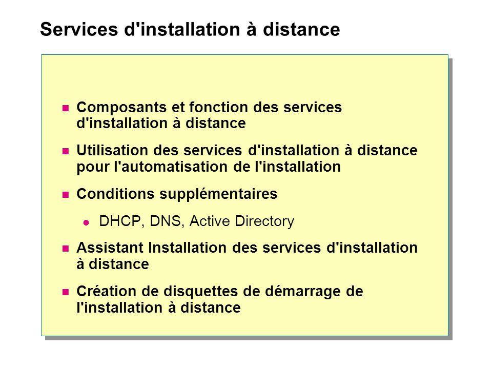 Services d installation à distance Composants et fonction des services d installation à distance Utilisation des services d installation à distance pour l automatisation de l installation Conditions supplémentaires DHCP, DNS, Active Directory Assistant Installation des services d installation à distance Création de disquettes de démarrage de l installation à distance
