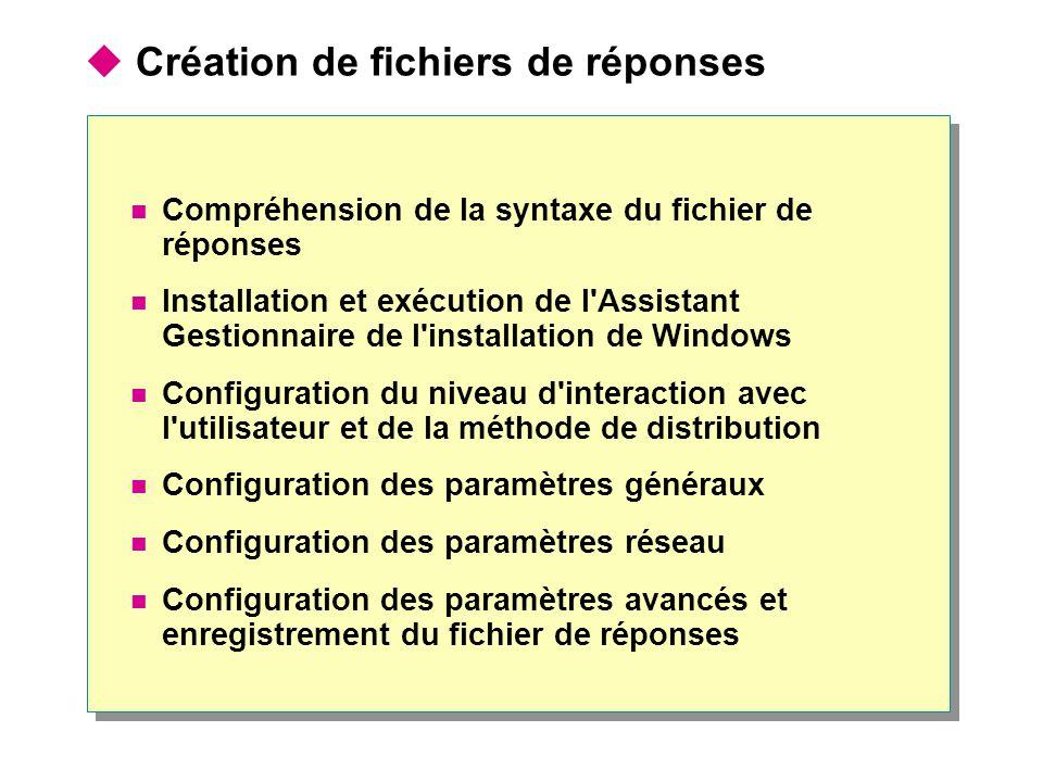  Création de fichiers de réponses Compréhension de la syntaxe du fichier de réponses Installation et exécution de l Assistant Gestionnaire de l installation de Windows Configuration du niveau d interaction avec l utilisateur et de la méthode de distribution Configuration des paramètres généraux Configuration des paramètres réseau Configuration des paramètres avancés et enregistrement du fichier de réponses