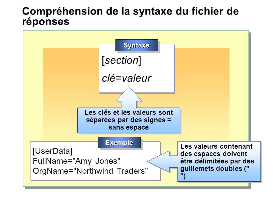 Compréhension de la syntaxe du fichier de réponses [UserData] FullName= Amy Jones OrgName= Northwind Traders [UserData] FullName= Amy Jones OrgName= Northwind Traders [section] clé=valeur [section] clé=valeur SyntaxeSyntaxe Les clés et les valeurs sont séparées par des signes = sans espace Les valeurs contenant des espaces doivent être délimitées par des guillemets doubles ( ) ExempleExemple