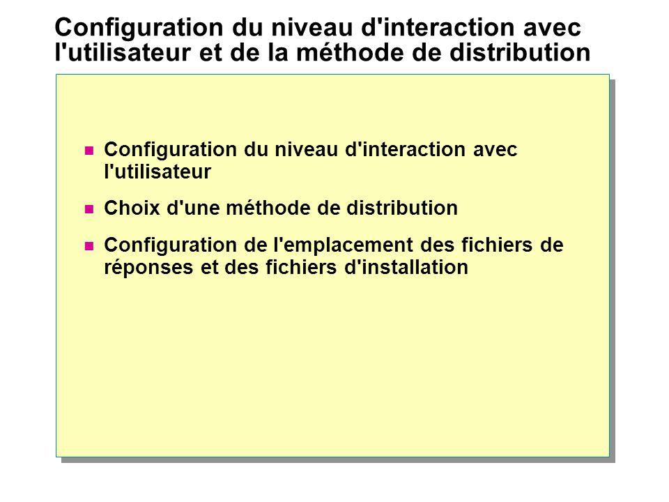 Configuration du niveau d interaction avec l utilisateur et de la méthode de distribution Configuration du niveau d interaction avec l utilisateur Choix d une méthode de distribution Configuration de l emplacement des fichiers de réponses et des fichiers d installation