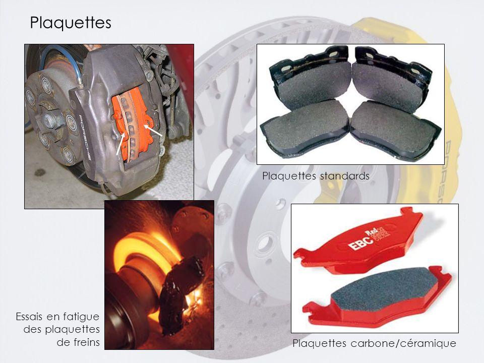 Plaquettes Essais en fatigue des plaquettes de freins Plaquettes carbone/céramique Plaquettes standards