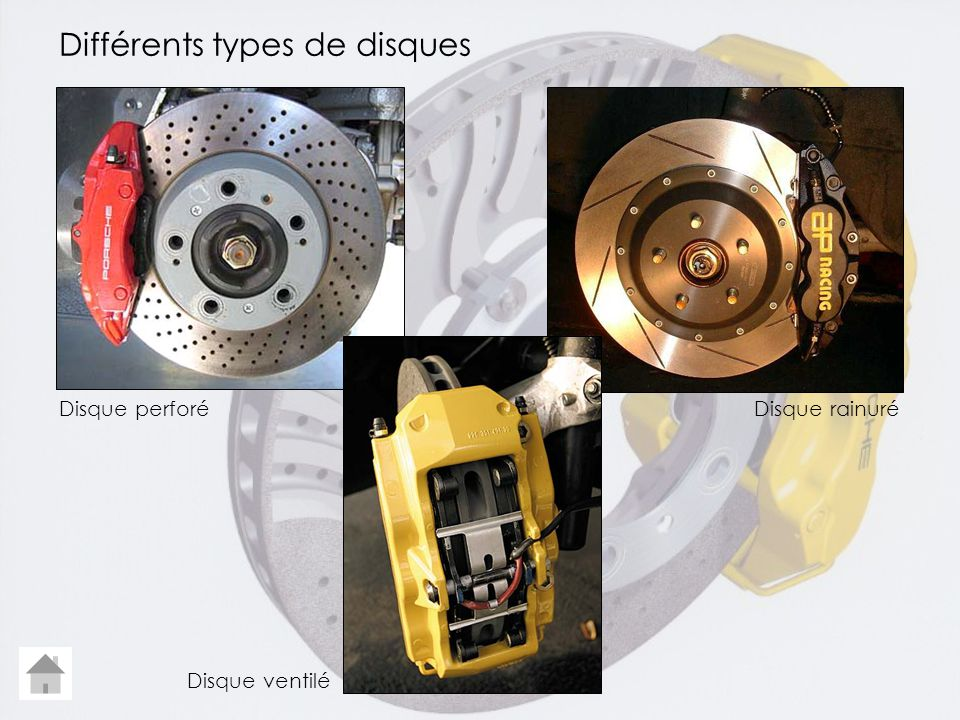 Différents types de disques Disque perforéDisque rainuré Disque ventilé