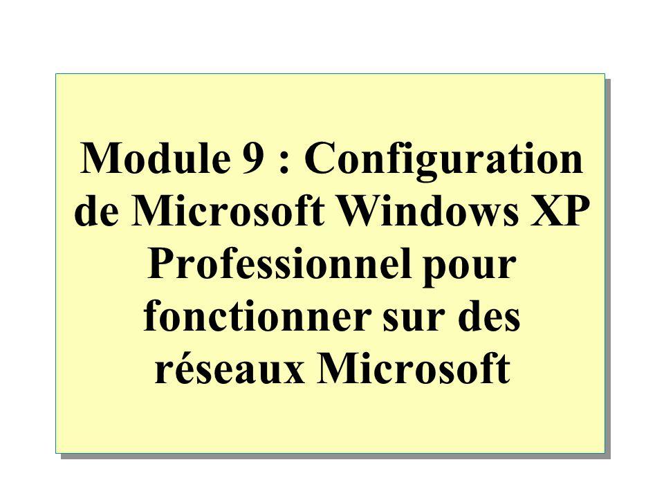 Module 9 : Configuration de Microsoft Windows XP Professionnel pour fonctionner sur des réseaux Microsoft