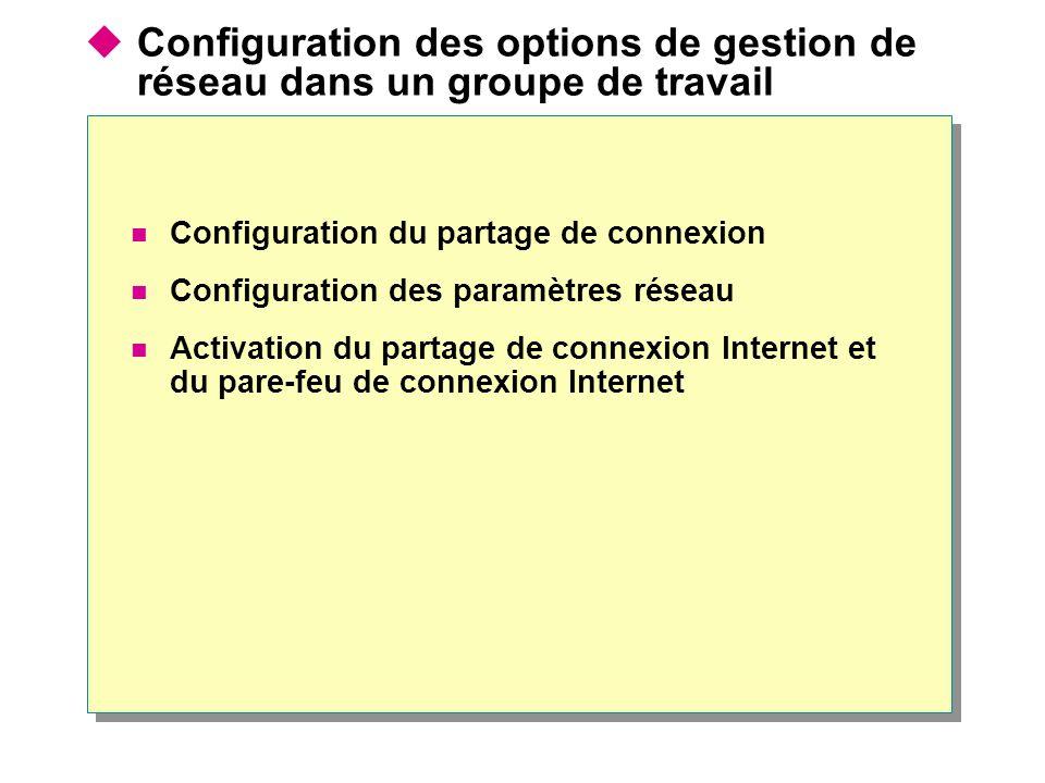  Configuration des options de gestion de réseau dans un groupe de travail Configuration du partage de connexion Configuration des paramètres réseau Activation du partage de connexion Internet et du pare-feu de connexion Internet