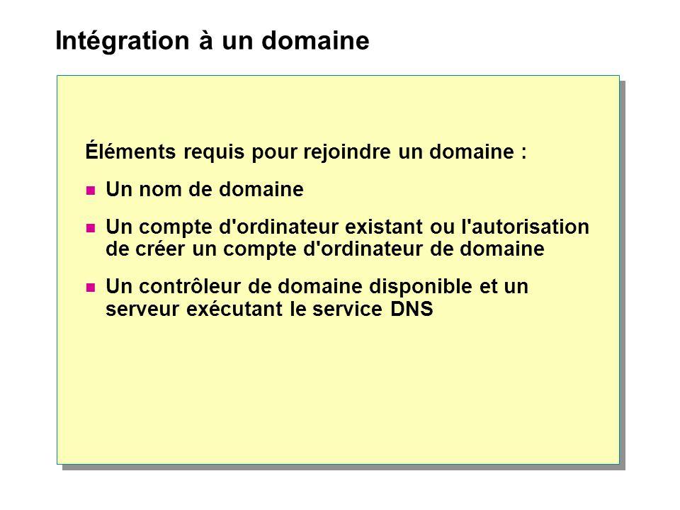 Intégration à un domaine Éléments requis pour rejoindre un domaine : Un nom de domaine Un compte d ordinateur existant ou l autorisation de créer un compte d ordinateur de domaine Un contrôleur de domaine disponible et un serveur exécutant le service DNS