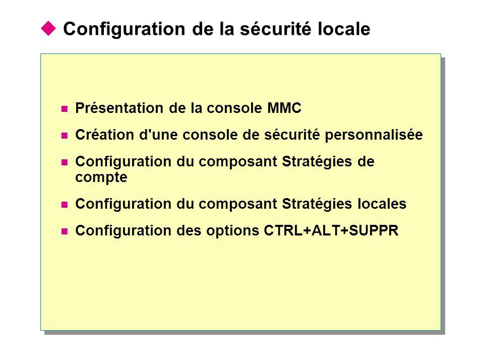  Configuration de la sécurité locale Présentation de la console MMC Création d une console de sécurité personnalisée Configuration du composant Stratégies de compte Configuration du composant Stratégies locales Configuration des options CTRL+ALT+SUPPR