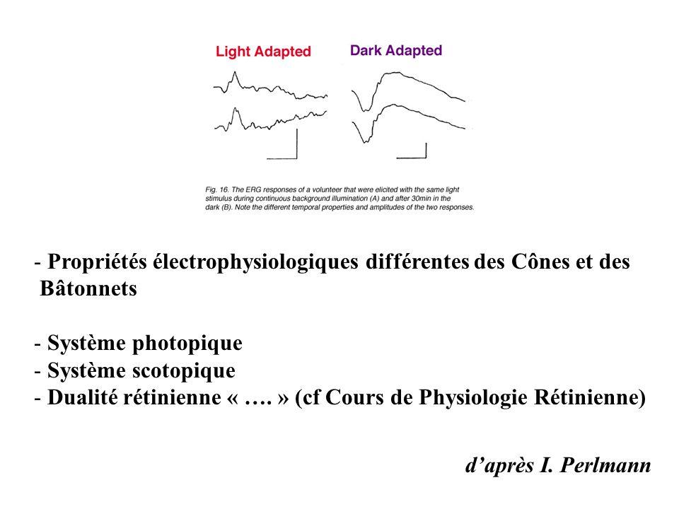 d'après I. Perlmann - Propriétés électrophysiologiques différentes des Cônes et des Bâtonnets - Système photopique - Système scotopique - Dualité réti