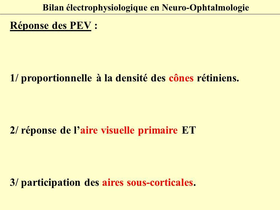 Réponse des PEV : 1/ proportionnelle à la densité des cônes rétiniens. 2/ réponse de l'aire visuelle primaire ET 3/ participation des aires sous-corti