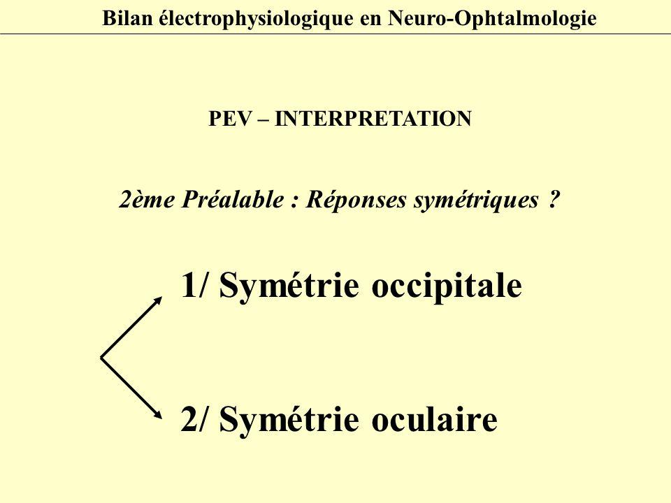 PEV – INTERPRETATION 2ème Préalable : Réponses symétriques ? 1/ Symétrie occipitale 2/ Symétrie oculaire Bilan électrophysiologique en Neuro-Ophtalmol