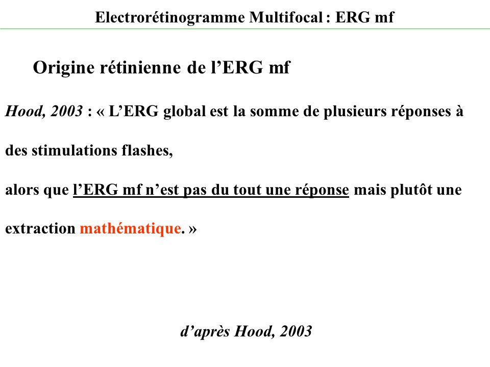 d'après Hood, 2003 Electrorétinogramme Multifocal : ERG mf Origine rétinienne de l'ERG mf Hood, 2003 : « L'ERG global est la somme de plusieurs répons