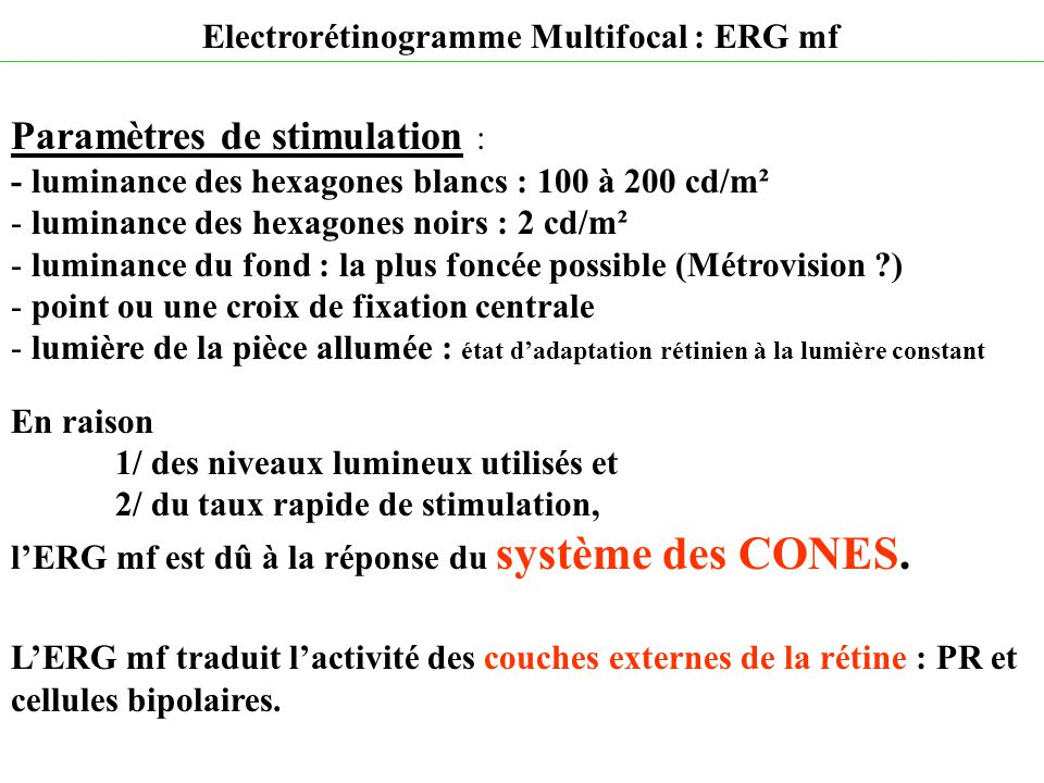 Paramètres de stimulation : - luminance des hexagones blancs : 100 à 200 cd/m² - luminance des hexagones noirs : 2 cd/m² - luminance du fond : la plus
