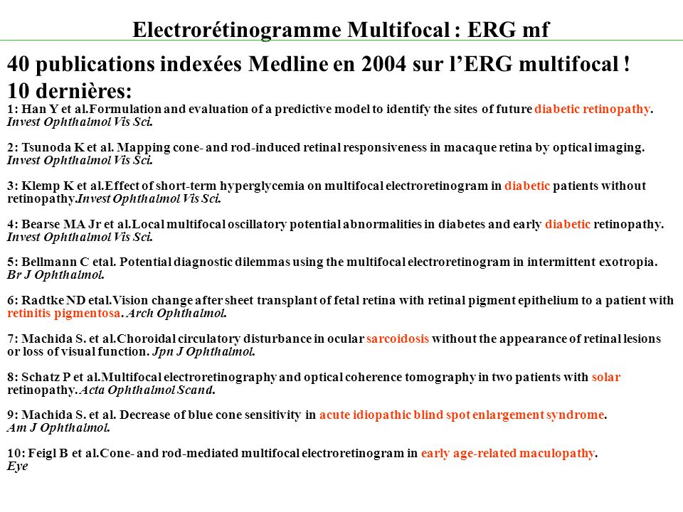 Electrorétinogramme Multifocal : ERG mf 40 publications indexées Medline en 2004 sur l'ERG multifocal ! 10 dernières: 1: Han Y et al.Formulation and e