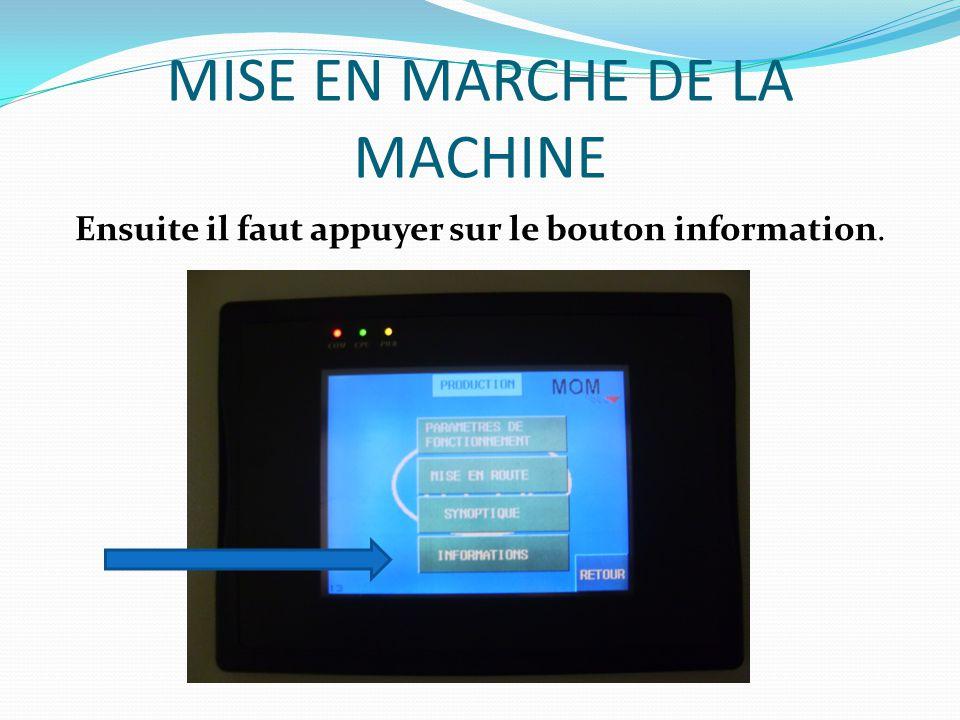 MISE EN MARCHE DE LA MACHINE Et enfin appuyer sur le bouton bilan afin de saisir le nombre de flacons à produire dans un cycle.